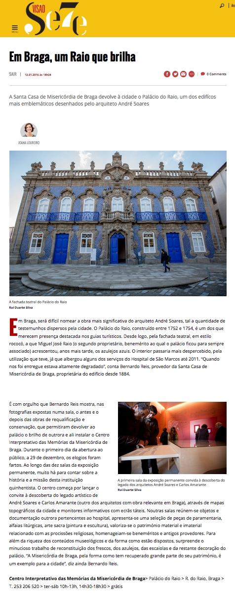 artigo revista Visão sobre Palácio do Raio