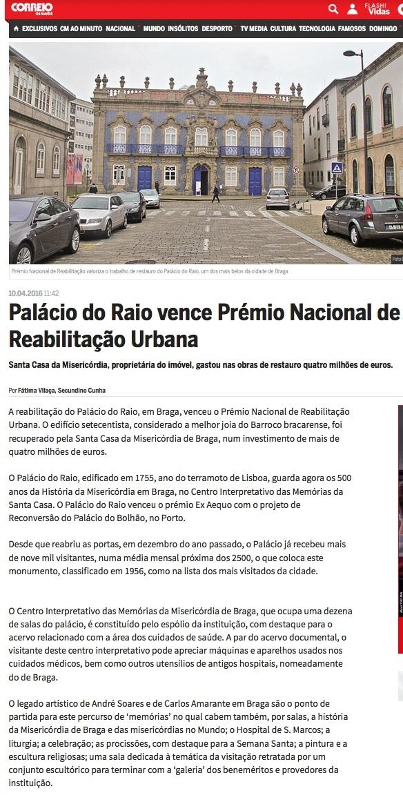 Prémio Nacional de Reabilitação Urbana 2016 ; artigo Correio da Manhã